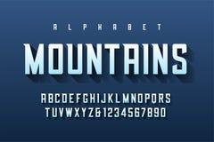 Retro progettazione condensata della fonte dell'esposizione, alfabeto, serie di caratteri, le royalty illustrazione gratis