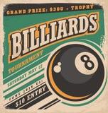 Retro progettazione del manifesto per il torneo del biliardo royalty illustrazione gratis