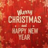 Retro progettazione di cartolina di Natale disegnata su struttura rossa Fotografia Stock
