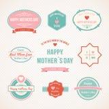 Retro progettazione stabilita dell'etichetta di giorno di madri Fotografie Stock Libere da Diritti