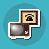 Retro progettazione variopinta della TV, illustrazione di vettore Fotografie Stock Libere da Diritti