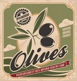 Retro progettazione verde oliva del manifesto Fotografia Stock