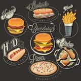 Retro progettazioni d'annata degli alimenti a rapida preparazione di stile illustrazione di stock