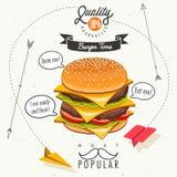 Retro progettazioni d'annata degli alimenti a rapida preparazione di stile Fotografia Stock Libera da Diritti