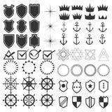 Retro projektów elementy inkasowi Set rocznik projektujący modniś royalty ilustracja