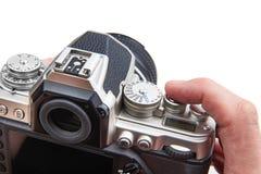 Retro projektująca cyfrowa SLR kamera w rękach odizolowywać Fotografia Royalty Free