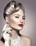 Retro Projektujący dama portret fotografia royalty free