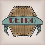 Retro projektujący rocznika starego stylu loga logotypu majcher z inscri ilustracji
