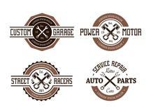 Retro Projektujący Auto emblematy royalty ilustracja
