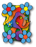 Retro Psychadelic Illustration. Flower power -peace and love- style abstract illustration in various bright colors Royalty Free Stock Image