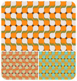 Retro Psychedelic Pattern ~2. Retro seamless pattern with 3 colour schemes Royalty Free Stock Photo