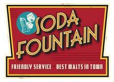 Retro pubblicità d'annata del segno del malto di servizio della fontana di soda fotografia stock
