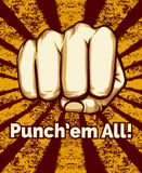 Retro Punching Fist Poster Stock Photo