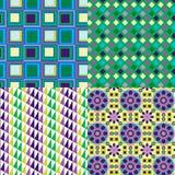 4 Retro Purple Patterns Vector Stock Images