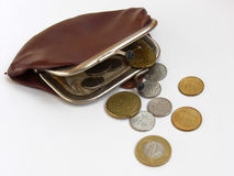 Retro purse with coins. Retro purse with some european and polish coins stock images