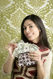 Retro purse dollar woman vintage wallpaper royalty free stock photography