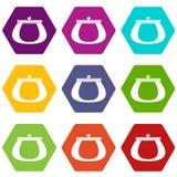 Retro purse icon set color hexahedron. Retro purse icon set many color hexahedron isolated on white vector illustration Royalty Free Stock Photos