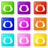 Retro purse icons 9 set. Retro purse icons of 9 color set isolated vector illustration Royalty Free Stock Photo