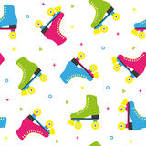 Retro quad roller skates colorful seamless pattern Stock Photography