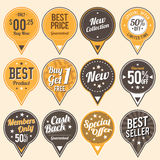 Retro Quality Labels. Vector illustration of various retro quality and sale marketing labels Royalty Free Stock Photos