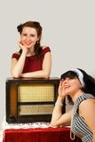 Retro radio and girl Stock Photos