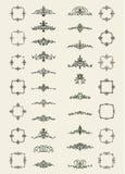 Retro różyczki i wiktoriański ornament dla dekoracja teksta Obraz Stock