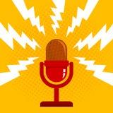 Retro röd mikrofon stock illustrationer
