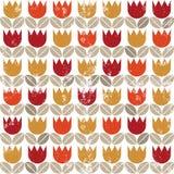 Retro röda tulpan för orange guling på det vita havet för grunge Arkivbild
