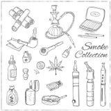 Retro rökuppsättning för klotter med vattenpipan, vape, cannabis och rör Royaltyfri Foto