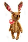 Retro rabbit toy. Standing isolated on white Royalty Free Stock Photo