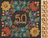 Retro raccolta d'annata della cartolina d'auguri di anniversario di stile Fotografia Stock Libera da Diritti