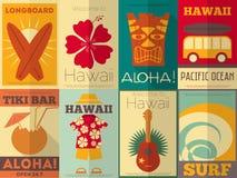 Retro raccolta dei manifesti delle Hawai Fotografia Stock Libera da Diritti