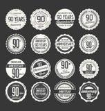 Retro raccolta del distintivo di anniversario, 90 anni Immagini Stock Libere da Diritti
