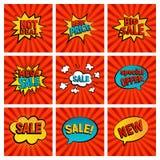 Retro raccolta della carta di vettore dell'icona di vendite Immagine Stock