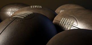Retro raccolta della palla di rugby Fotografia Stock