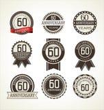 Retro raccolta delle etichette di anniversario 60 anni Immagini Stock Libere da Diritti