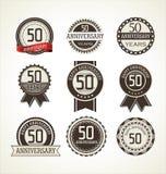 Retro raccolta delle etichette di anniversario 50 anni Immagine Stock