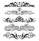 Retro raccolta vittoriana degli elementi per progettazione calligrafica Elementi floreali genuini della pagina Fotografia Stock Libera da Diritti