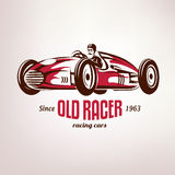 Retro race car, vintage vector symbo. L, emblem, label template Royalty Free Stock Images
