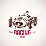 Retro raceauto, uitstekend vectorsymbool Stock Afbeelding