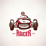 Retro raceauto, uitstekend vectorsymbool Royalty-vrije Stock Afbeeldingen