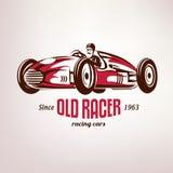 Retro raceauto, uitstekende vectorsymbo Royalty-vrije Stock Afbeeldingen