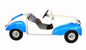 Retro racebil med vit bakgrund Arkivbilder