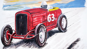 Retro racing car painting. A classic race car painting on wall with the number 63 written on the car Stock Photos
