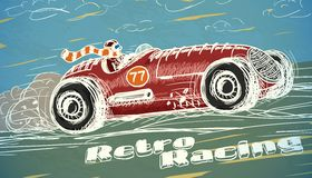 Retro racing car poster. Isolated vector illustration Stock Photo