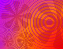 Retro Radial Circles Flowers Background 1. A background illustration featuring assorted radial circles and flower designs on purple orange gradient background vector illustration