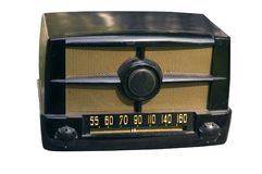 Retro radio. Small 1940's table radio with clipping path Stock Images
