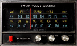 Retro radio. The frequency screen of a fantastic looking retro transistor radio Royalty Free Stock Photos