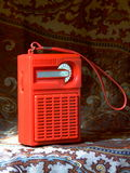 Retro Radio. A small, cheap and brightly coloured radio from the 1970s Stock Photography