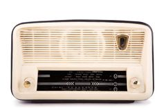 Retro radio. Old vintage radio, clipping path included, white isolated royalty free stock image